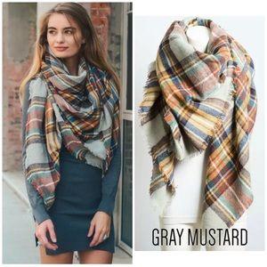 Gray & Mustard Frayed Hem Blanket Scarf